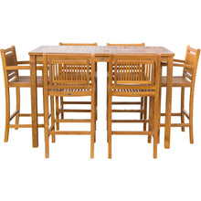 "7 Piece Teak Wood Maldives Patio Bistro Bar Set, 63"" Bar Table, 2 Barstools with Arms and 4 Armless Barstools - Chic Teak"