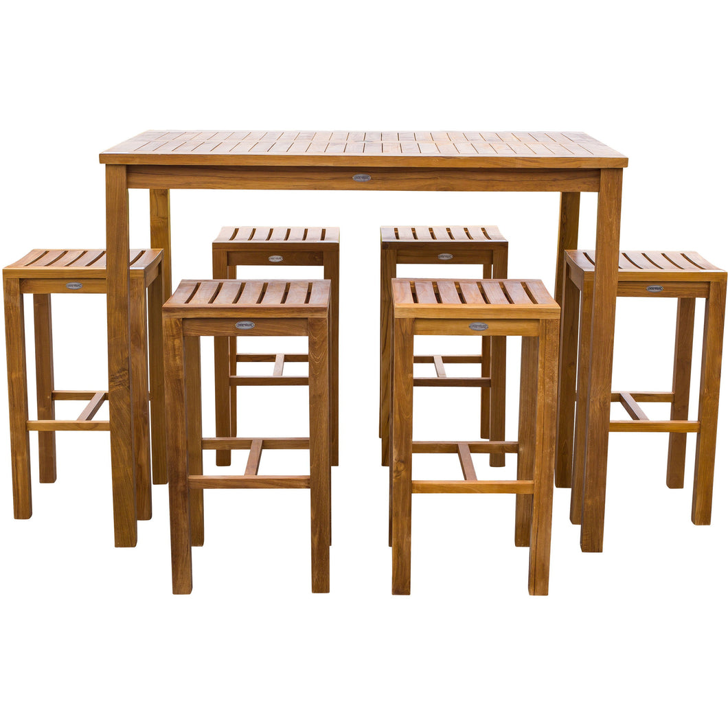 Terrific 7 Piece Teak Wood Santa Monica Patio Bistro Bar Set 55 Bar Theyellowbook Wood Chair Design Ideas Theyellowbookinfo