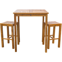 "3 Piece Teak Wood Havana Patio Bistro Bar Set with 35"" Table & 2 Barstools - Chic Teak"