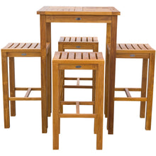 "5 Piece Teak Wood Havana Small Patio Bistro Bar Set with 27"" Square Table and 4 Barstools - Chic Teak"