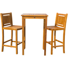 "3 Piece Teak Wood Maldives Small Patio Bistro Bar Set with 27"" Square Bar Table & 2 Armless Bar Chairs - Chic Teak"