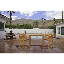 "3 Piece Teak Wood Peanut Patio Bistro Bar Set with 2 Bar Chairs and 35"" Bar Table"