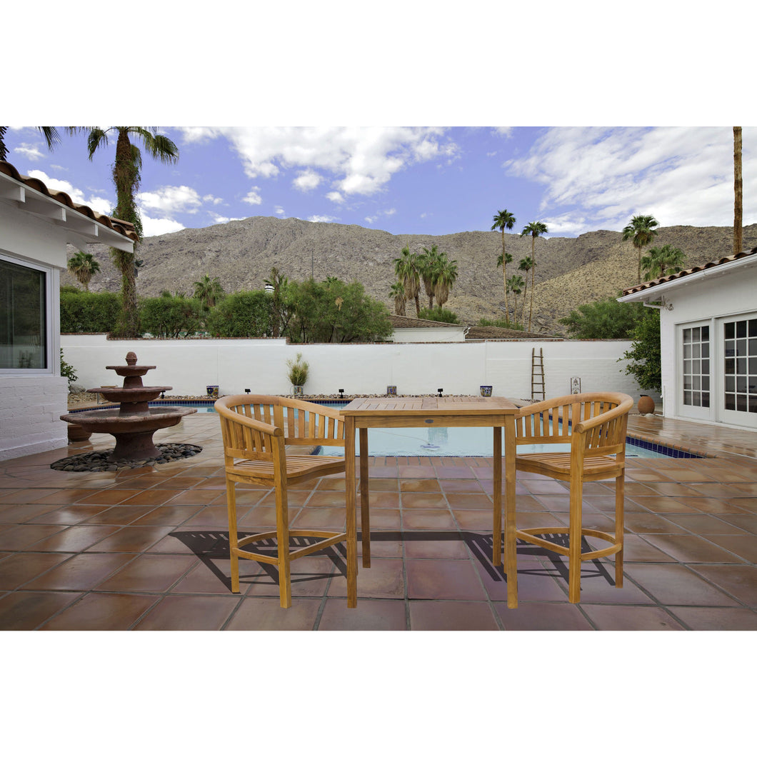 3 Piece Teak Wood Peanut Patio Bistro Bar Set with 2 Bar Chairs and 35