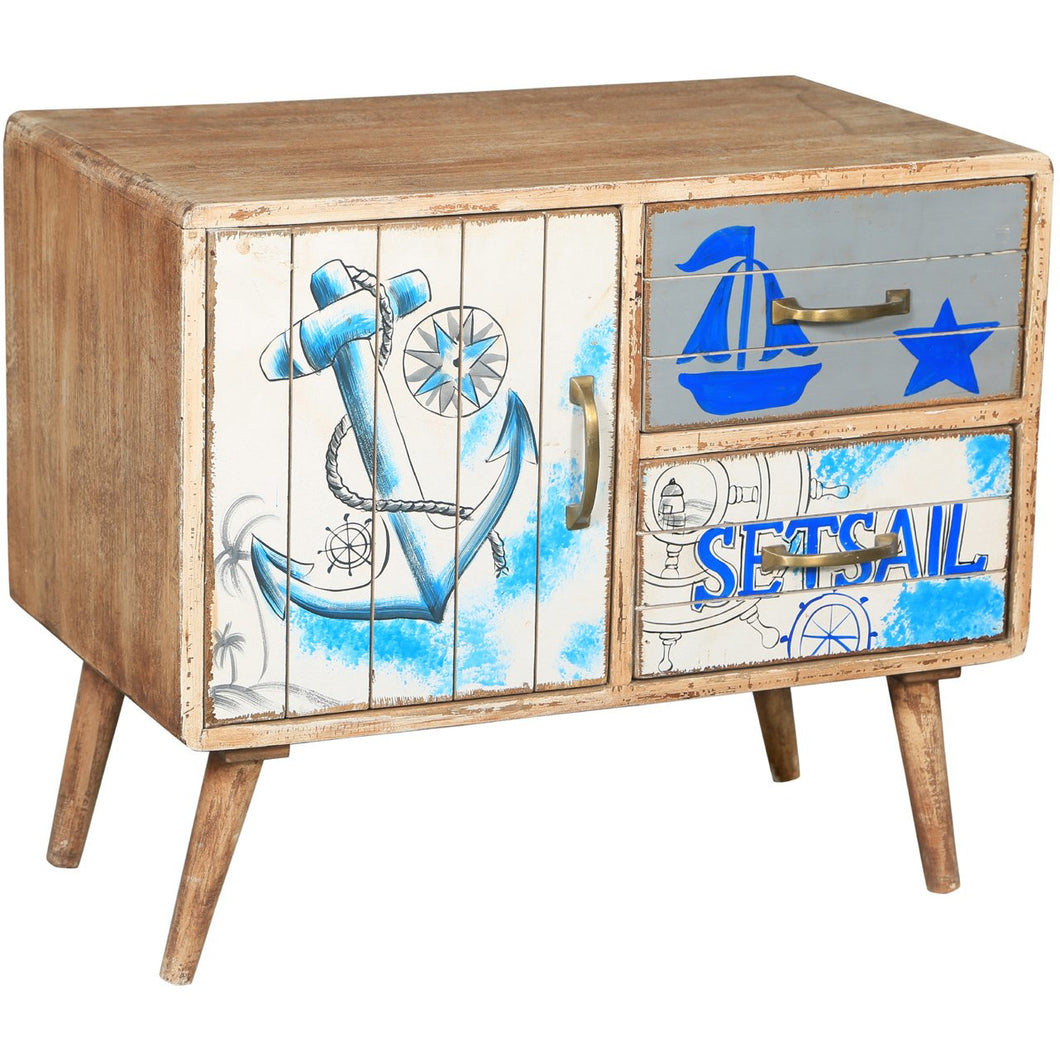 Seaside Mango Wood Chest with 2 Drawers - Chic Teak
