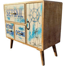 Seaside Mango Wood Chest with 3 Drawers and Cabinet