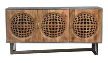 Pakal Mango Wood Sideboard with 3 Doors and Metal Base