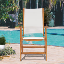 Teak Wood California Reclining Chair with White Batyline Sling