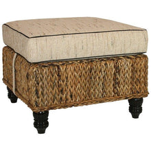 Naples Handwoven Abaca Leaf Ottoman with Cushion - Chic Teak