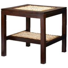 Java Mahogany Side Table with Banana Leaf Inlays - Chic Teak