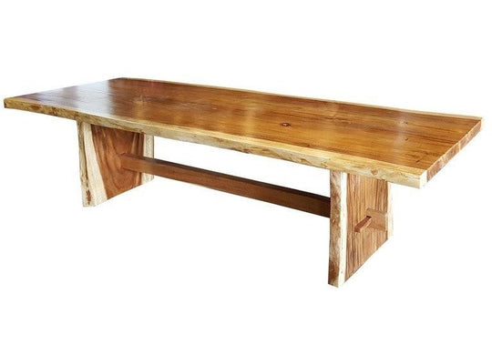 "Suar Live Edge Unique Slab Dining Table - 118"" Long - Chic Teak"