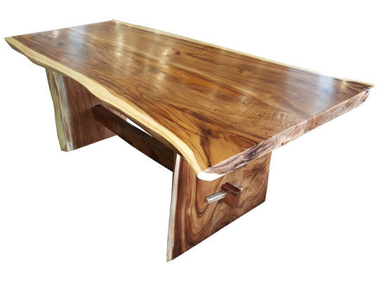 "Suar Live Edge Slab Dining Table - 79"" Long - Chic Teak"
