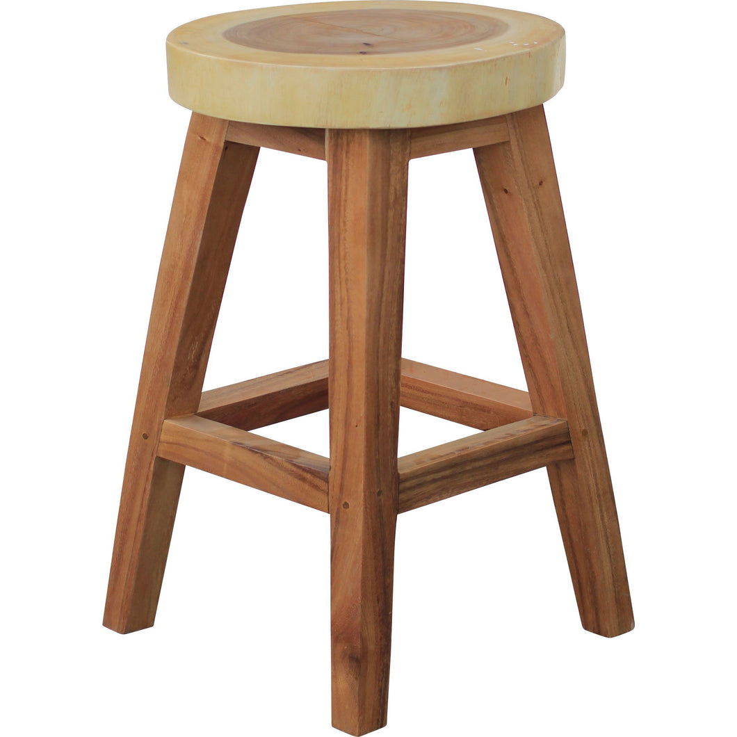 Suar Live Edge Round Counter Stool, 24 inch - Chic Teak