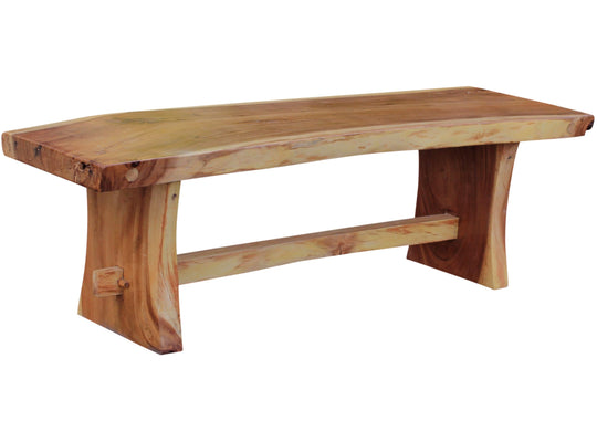 "Suar Live Edge Slab Backless Bench approximately 69"" long - Chic Teak"