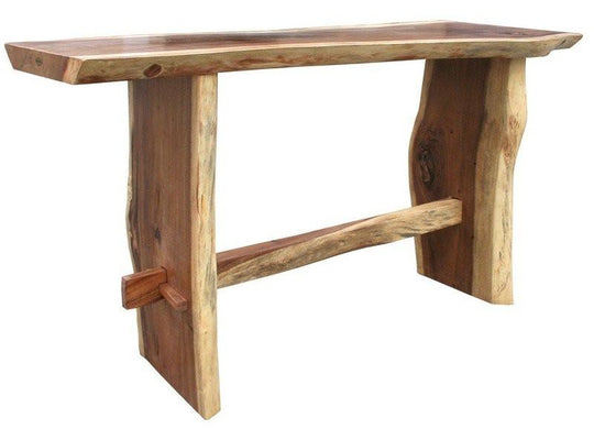 "Suar Live Edge Bar Table, 118"" - Chic Teak"