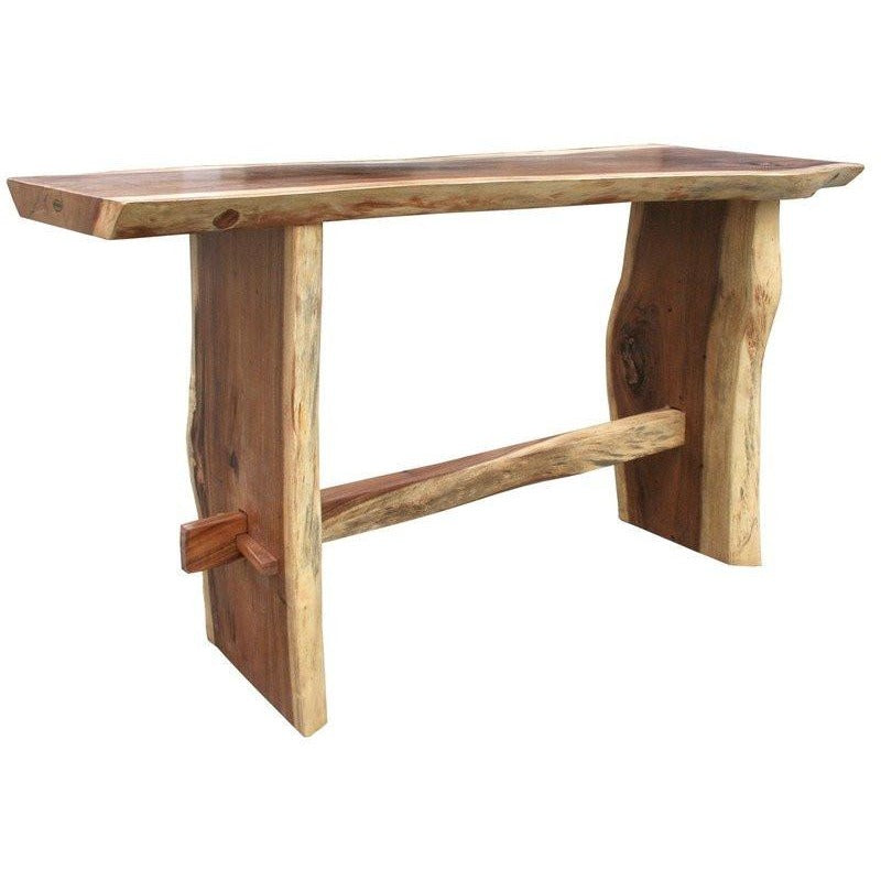 Suar Live Edge Unique Slab Bar Table, 79 Inch - Chic Teak