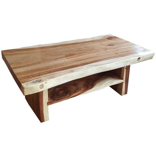 Suar Live Edge Slab Coffee Table With Shelf - Chic Teak