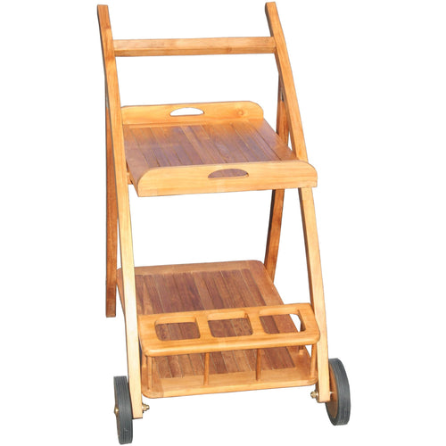 Teak Wood Serving Trolley with Serving Tray and Bottle Holders and Rubber Wheels - Chic Teak