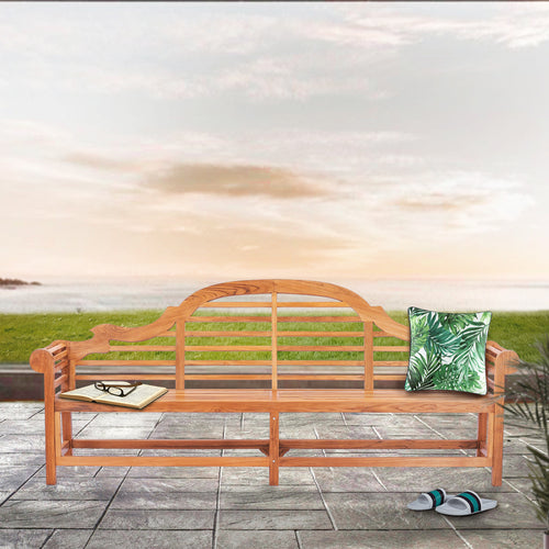 Teak Wood Lutyens Quadruple Bench, 8 Foot