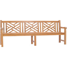 Teak Wood Chippendale Quadruple Bench, 8 Ft