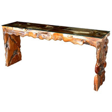 Teak Wood Root Console Table with Glass Top, 72 Inches - Chic Teak