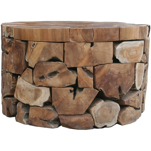 Teak Wood Round Akara Coffee Table - 28 Inch - Chic Teak