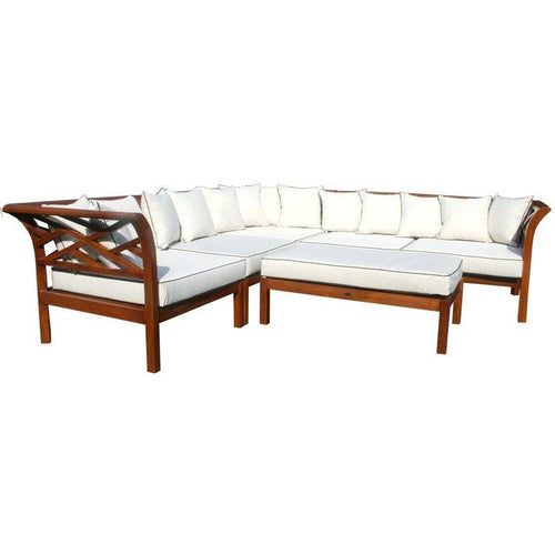 Teak Wood Long Island Sectional, 6 Pieces - Chic Teak