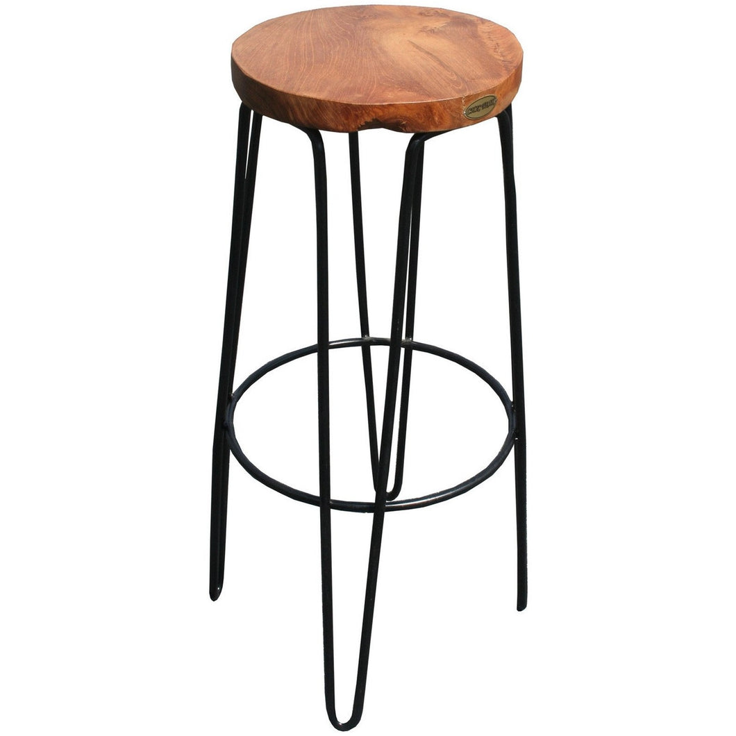 Teak Wood Round Bar Stool - Chic Teak