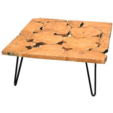 Teak Wood Square Coffee Table with Iron Legs - Chic Teak