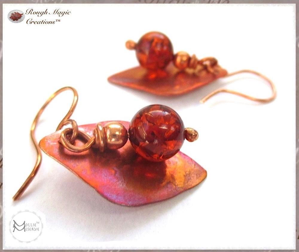 Amber and Copper Boho Earrings