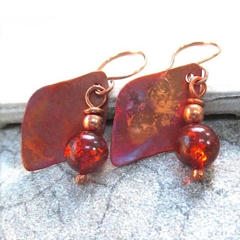 Amber Dangle Earrings with Colorful Rustic Copper