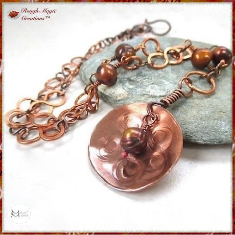 Rustic copper pendant necklace on hand forged handmade chain with freshwater pearls by Mollie Meserve Designs for Rough Magic Creations handcrafted jewelry for women.