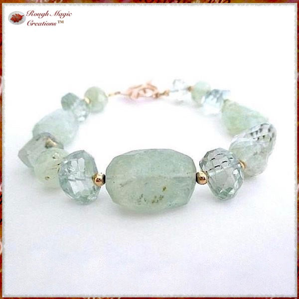 Aquamarine and prasiolite blue green gemstone bracelet gold fill clasp