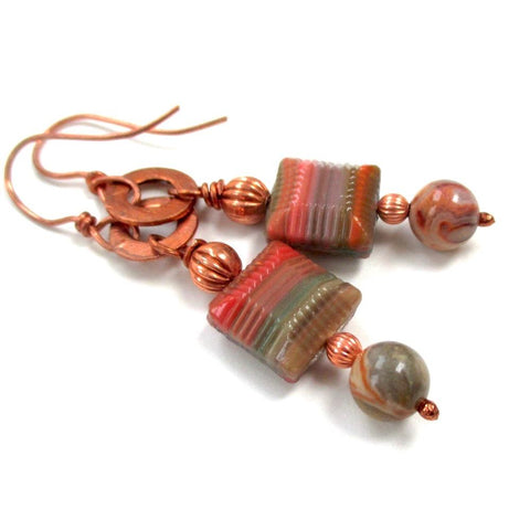 Long Fall Colors Earrings Shoulder Duster Dangles with Czech Glass, Crazy Lace Agate gemstones, copper beads and hand forged washers by Mollie Meserve Designs
