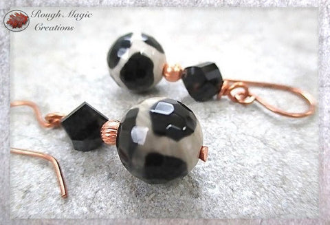 Ethnic Boho Earrings with Black and White Tibetan Dzi Agate Gemstones, Jet Austrian Crystals and Copper, Handmade Jewelry by Rough Magic Creations.