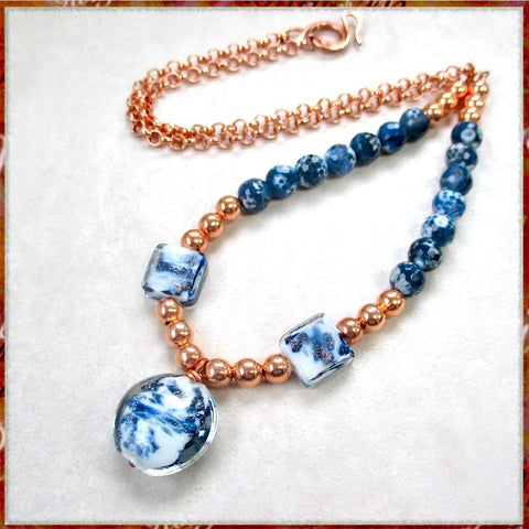 Blue and white pendant on long layering necklace with lampwork, Czech glass, copper beads and adjustable chain.