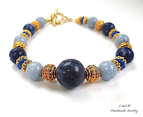 J and M Handmade Jewelry Blue Gemstone Bracelet with Gold Accents and Toggle Clasp