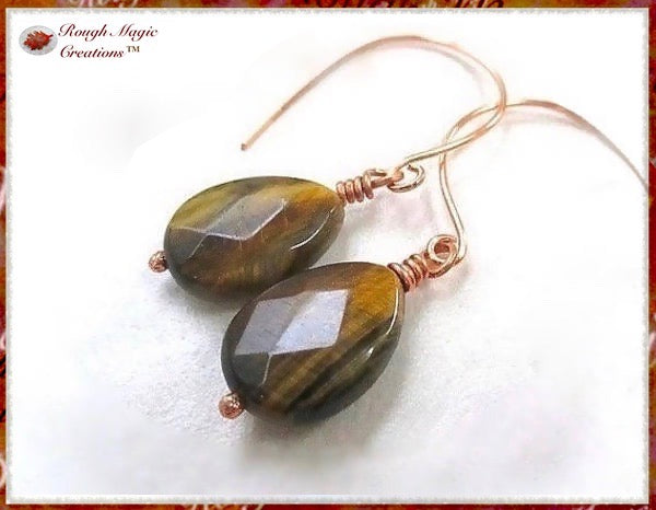 Tiger Eye Gemstone and Copper Earrings