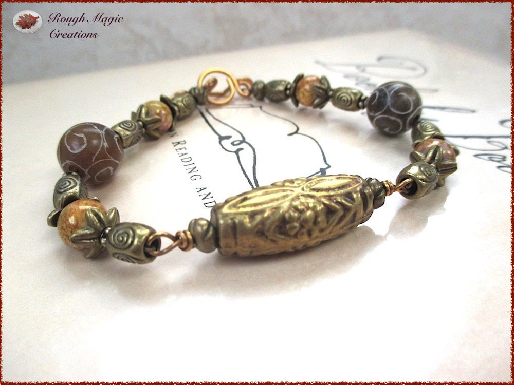 Brown Stone & Brass Bracelet, Ethnic Jewelry, Carved Jade Gemstones