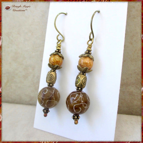 Boho tribal long earrings, shoulder dusters with carved Asian jade, antique brass, Czech glass