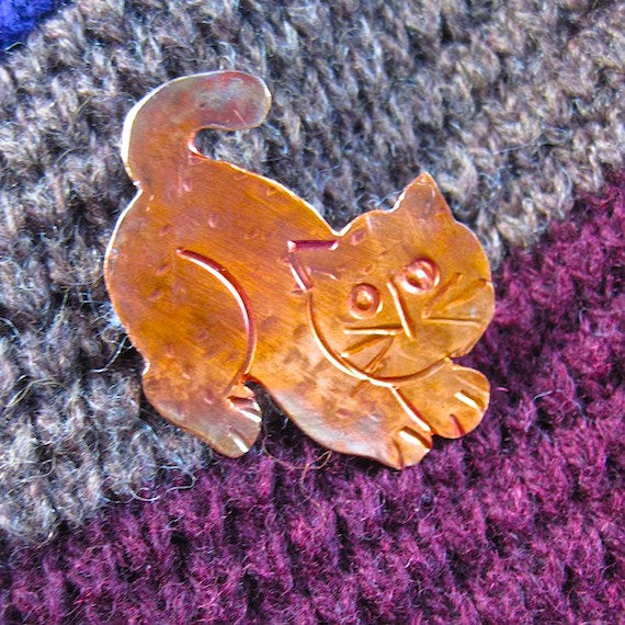 Hand Forged Copper Cat Brooch Wearable Art