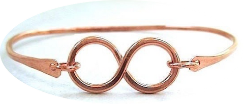 Bright Copper Infinity Bangle Bracelet
