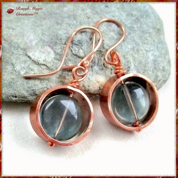 Copper Circle Drop Earrings with Green Fluorite Gemstones