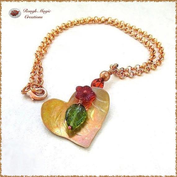 Copper Heart Floral Pendant with Red Glass Flower, Ladybug, Green Leaf, Chain Necklace