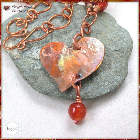 copper-heart-pendant-boho-gemstone-beaded-chain-necklace