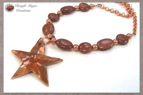 Solid Copper Starfish Beach Pendant Necklace with Sparkling Goldstone Gemstones and Copper Chain