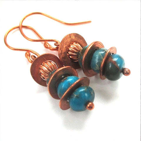 Cosmic Gemstone Earrings with Turquoise Jasper and Copper