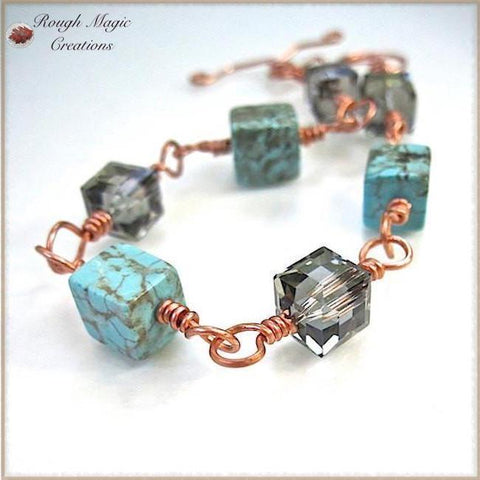 Cubist Link Bracelet with Turquoise Matrix Howlite Gemstones, Black Diamond Crystals and Copper Toggle Clasp