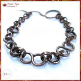 Dark Antique Copper Chain Link Bracelet Designed and Hand Forged by Mollie Meserve for Rough Magic Creations Handmade Jewelry.