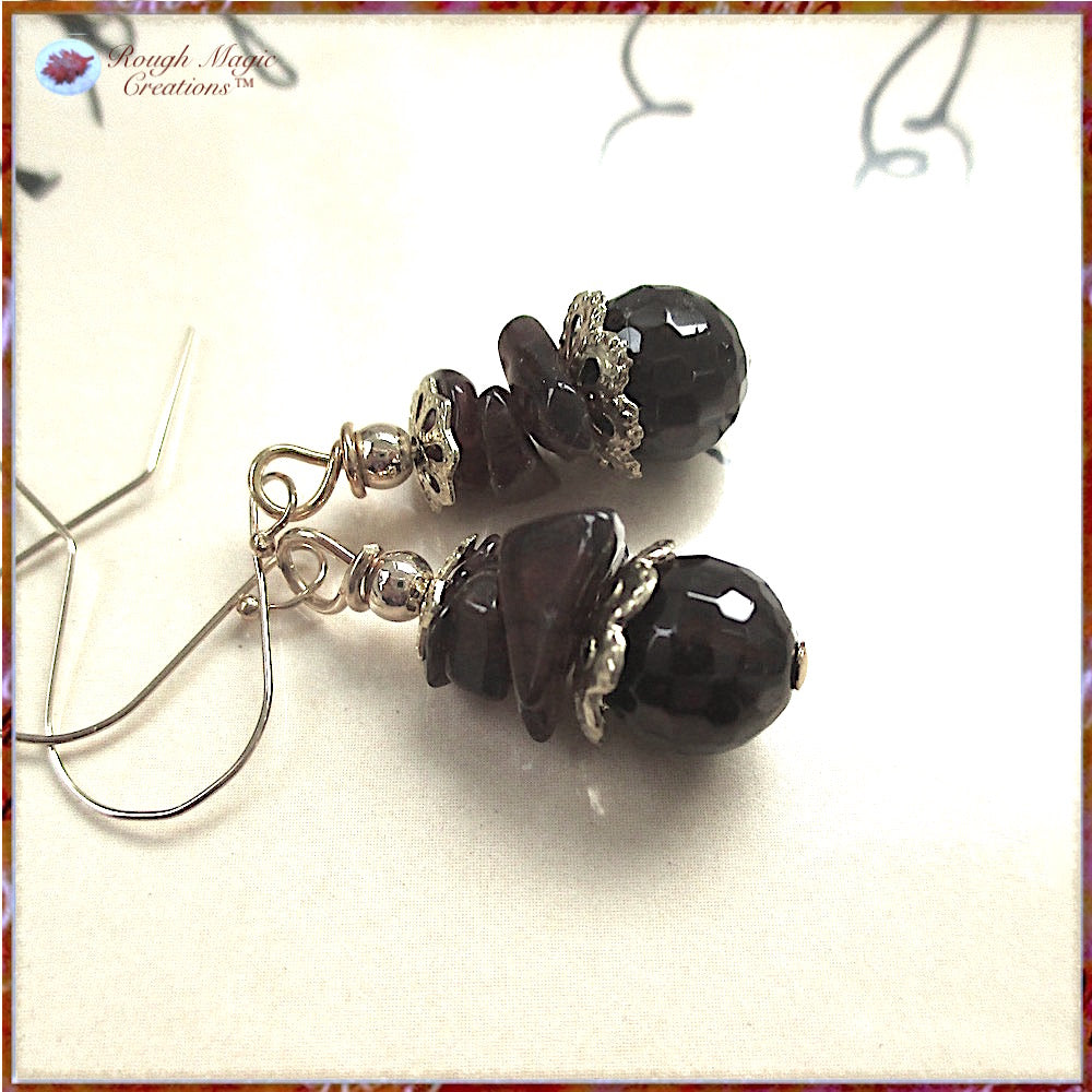Garnet Gemstone Earrings with Gold Accents