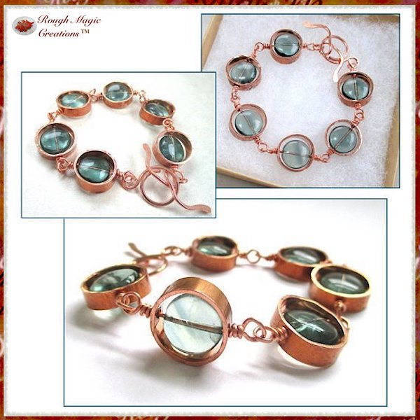 gemstone link bracelet with Fluorite Gemstones and Copper Circle Drops